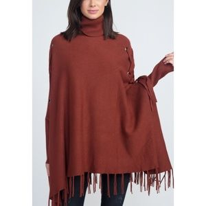 Turtleneck Knit Sweater Poncho